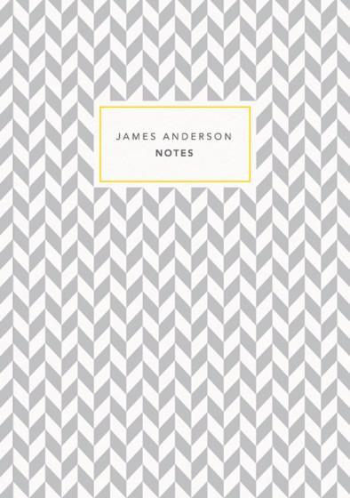 Grey Herringbone | Personalised Lined Notebook