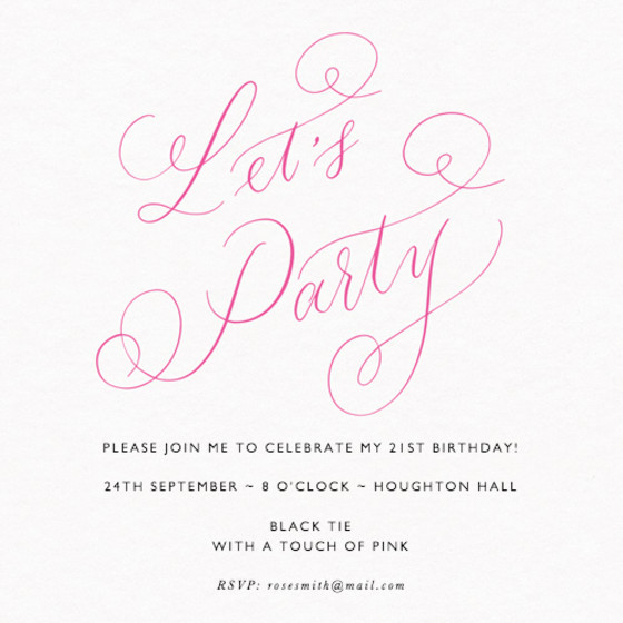 Let's Party Pink   Personalised Party Invitation