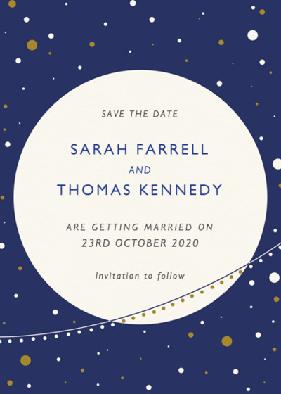 Moon And Stars | Personalised Save The Date