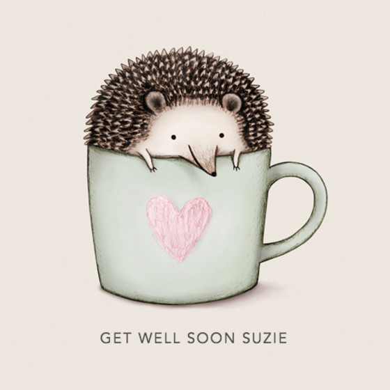 Hedgehog In A Mug | Personalised Greeting Card