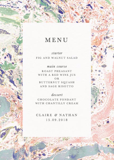 Marbre Rouge | Personalised Menu