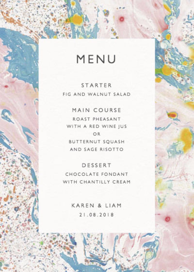 Marbre Rose | Personalised Menu