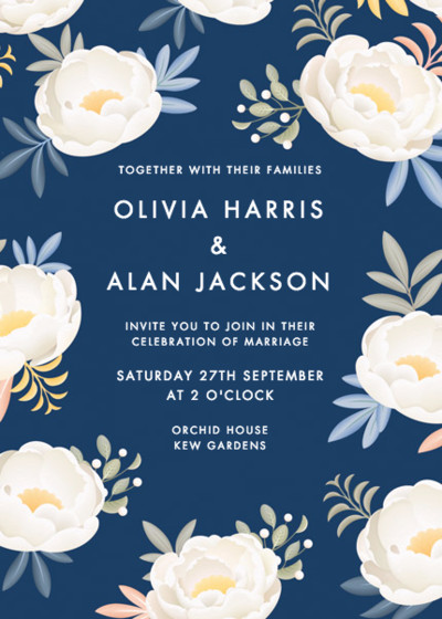 Blue Peonies   Personalised Wedding Invitation
