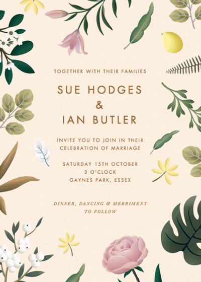 Ivory Botanicals   Personalised Wedding Invitation