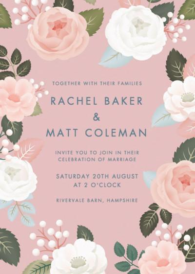 Blush Roses | Personalised Wedding Invitation