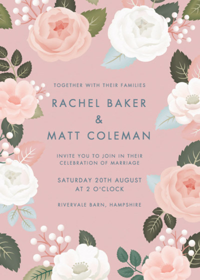 Blush Roses | Personalised Wedding Invitation