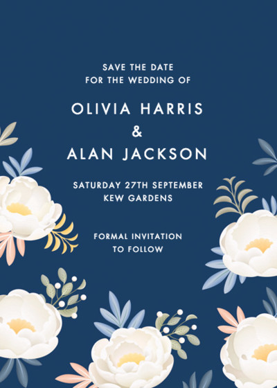 Blue Peonies | Personalised Save The Date