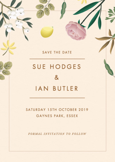 Ivory Botanicals | Personalised Save The Date