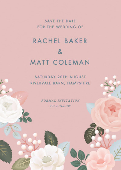 Blush Roses | Personalised Save The Date