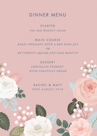 Blush Roses | Personalised Menu