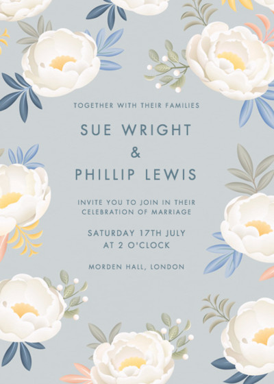Grey Peonies | Personalised Wedding Invitation