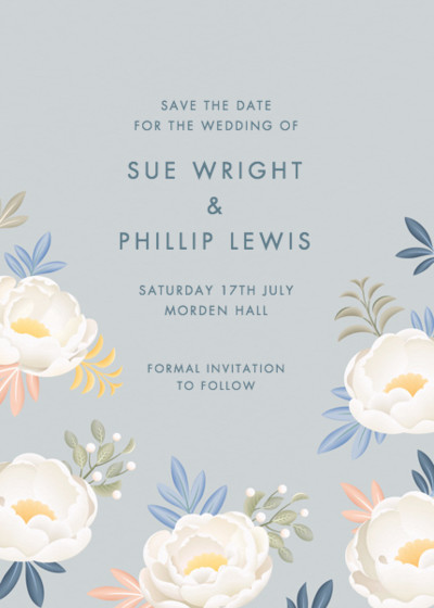 Grey Peonies | Personalised Save The Date