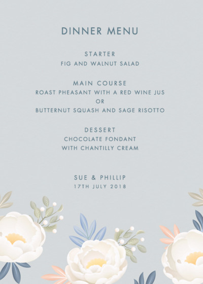 Grey Peonies | Personalised Menu