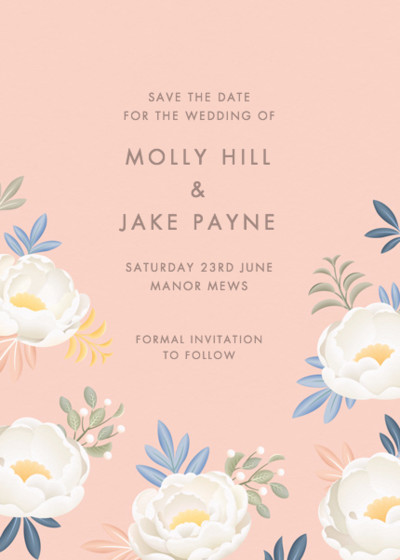 Blush Peonies | Personalised Save The Date