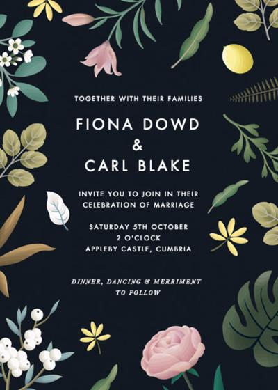 Black Botanicals   Personalised Wedding Invitation