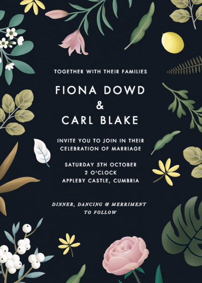 Black Botanicals | Personalised Wedding Invitation