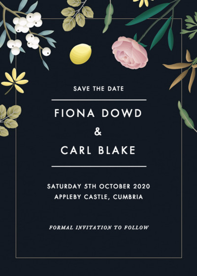 Black Botanicals   Personalised Save The Date