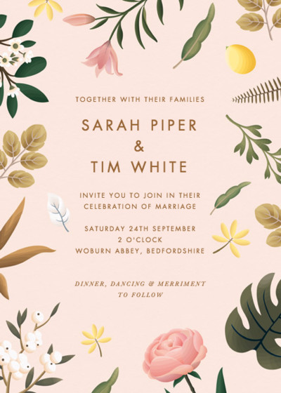 Blush Botanicals | Personalised Wedding Invitation