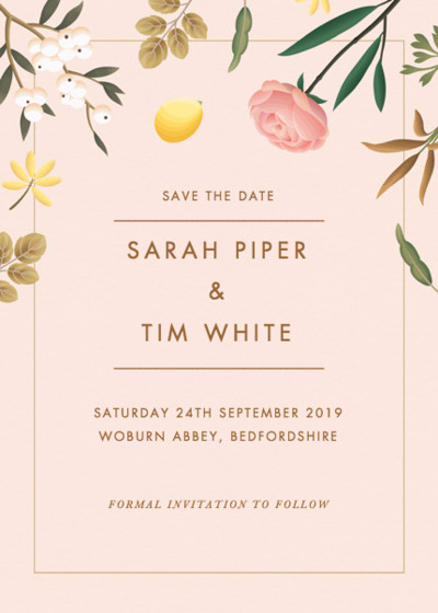 Blush Botanicals | Personalised Save The Date