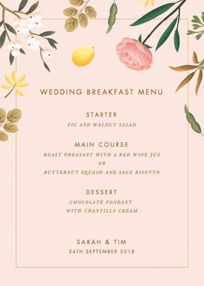 Blush Botanicals | Personalised Menu