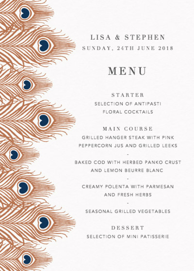 Peacock Feathers Bronze | Personalised Menu