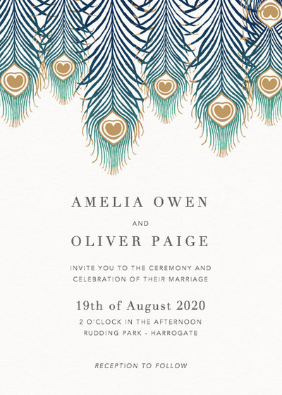 Peacock Feathers Ombré | Personalised Wedding Invitation
