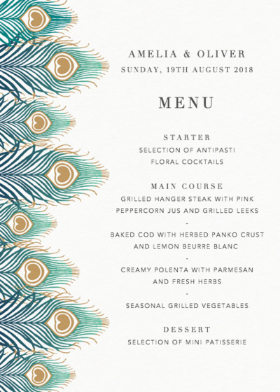 Peacock Feathers Ombré | Personalised Menu