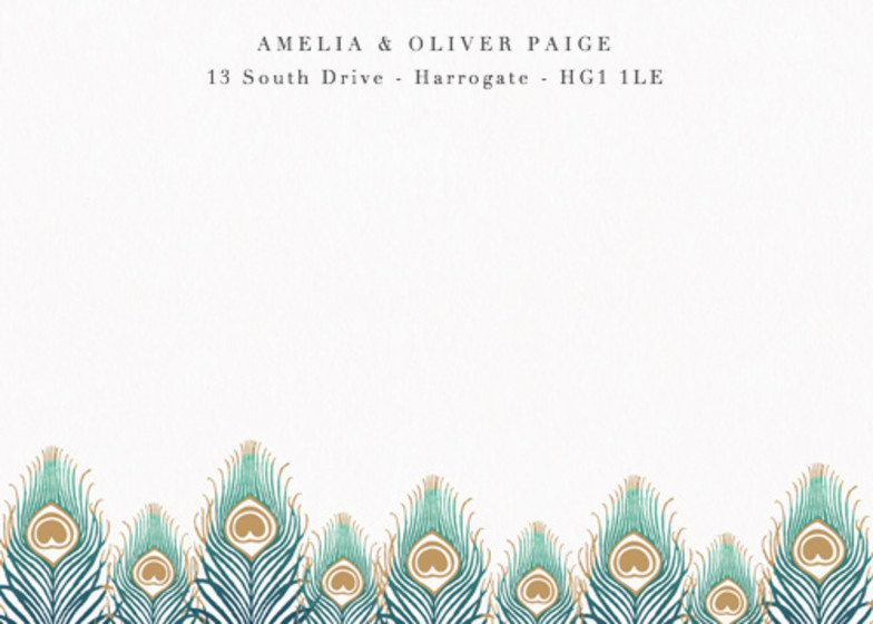 Peacock Feathers Ombré | Personalised Stationery Set