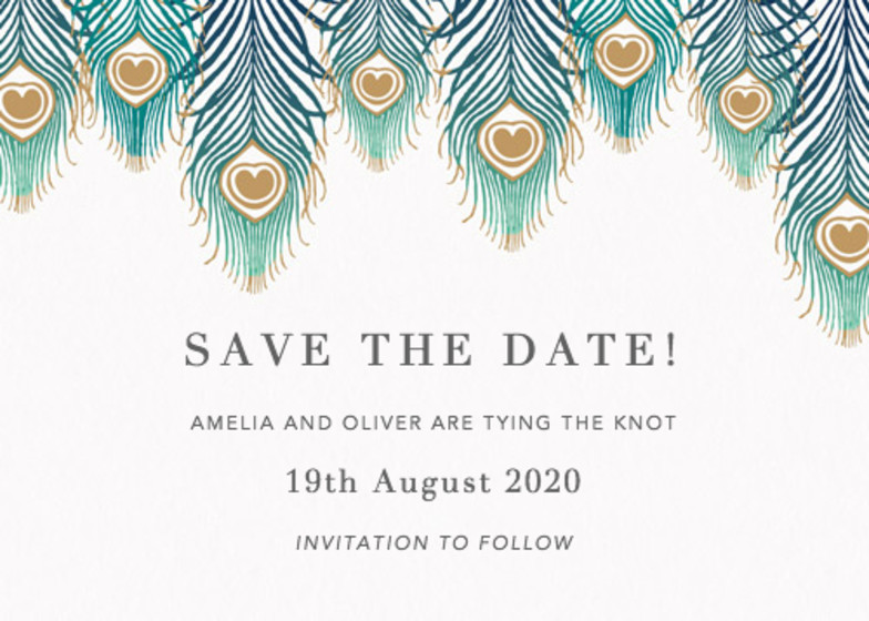Peacock Feathers Ombré | Personalised Save The Date