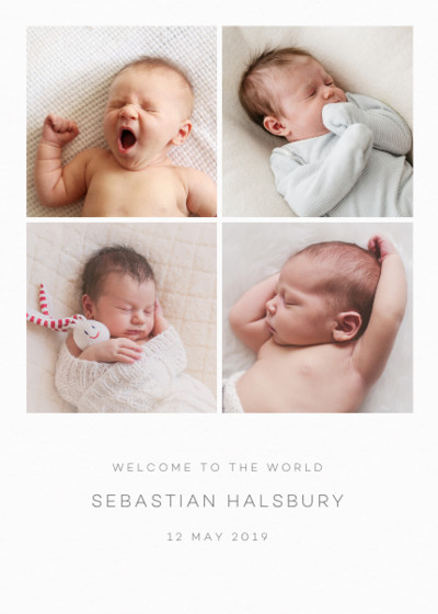 Baby Photo Grid | Personalised Birth Announcement