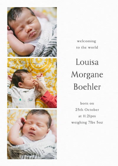 Baby Triptych | Personalised Birth Announcement