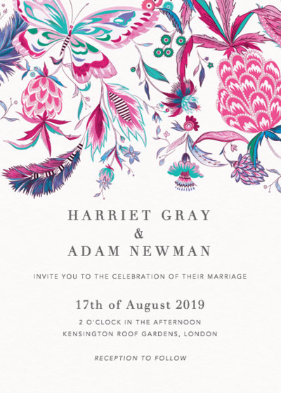 Pineapple Paisley Pink | Personalised Wedding Invitation