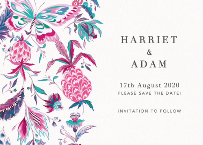 Pineapple Paisley Pink | Personalised Save The Date