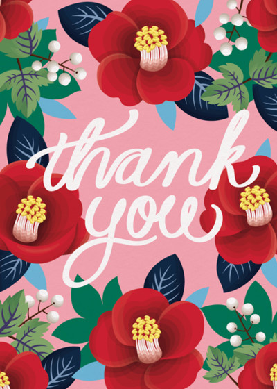 Thank You Camellia | Personalised Thank You Card Set