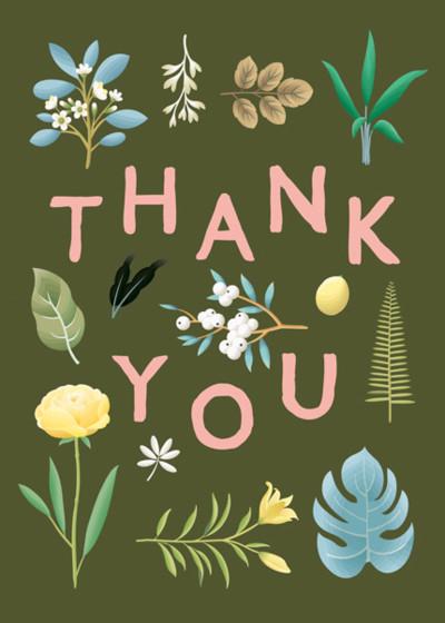 Botanical Thank You | Personalised Thank You Card Set