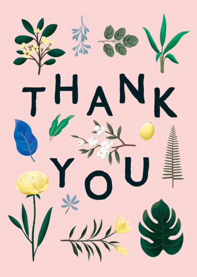 Botanical Thank You Pink | Personalised Thank You Card Set