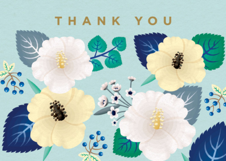 Hibiscus Floral  | Personalised Thank You Card Set