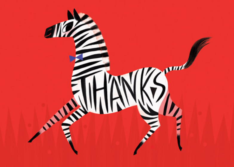 Zebra Thanks | Personalised Thank You Card Set