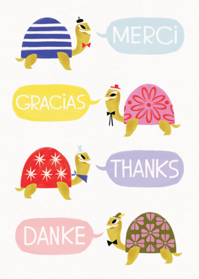 Multilingual Turtles | Personalised Thank You Card Set