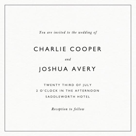 Classic Thin Border   Personalised Wedding Invitation