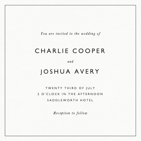 Classic Thin Border | Personalised Wedding Invitation