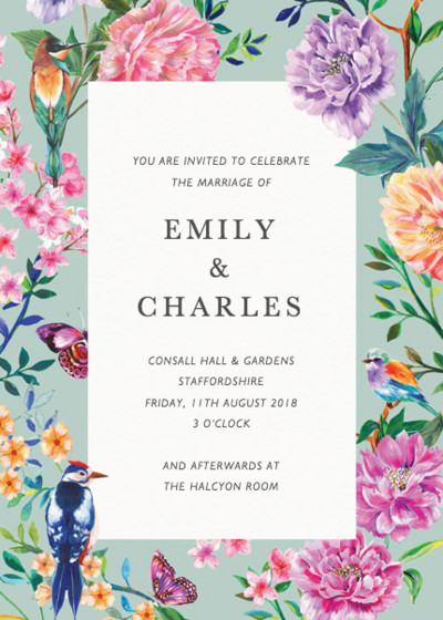 Duchess Garden Mint | Personalised Wedding Invitation