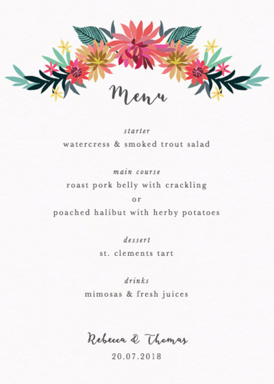 Dahlia Garden | Personalised Menu