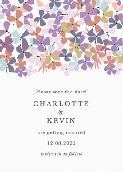 Hortensia Lilac | Personalised Save The Date