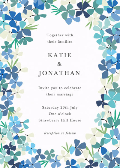 Hortensia Blue | Personalised Wedding Invitation
