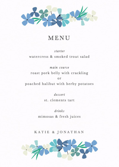 Hortensia Blue | Personalised Menu