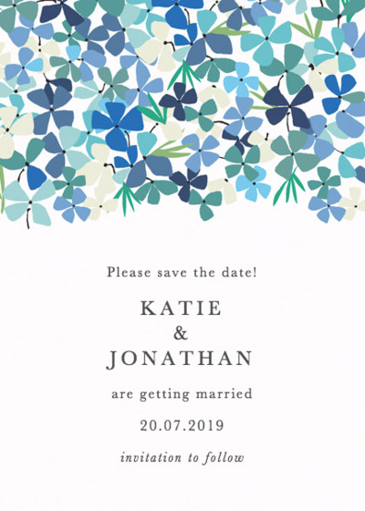 Hortensia Blue | Personalised Save The Date