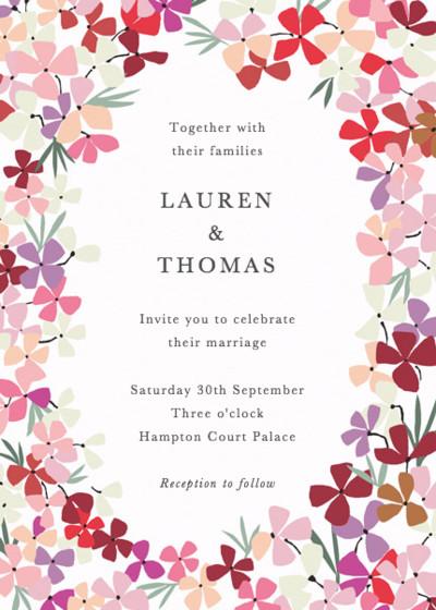 Hortensia Pink   Personalised Wedding Invitation