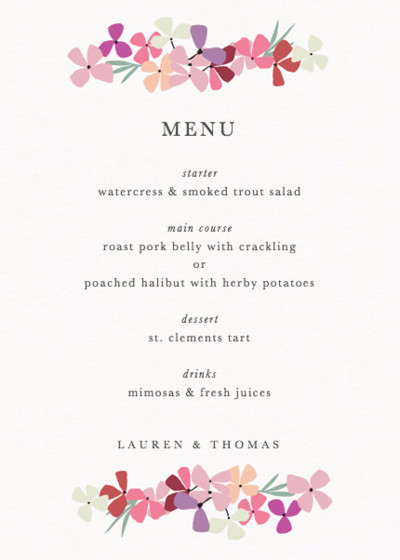 Hortensia Pink | Personalised Menu
