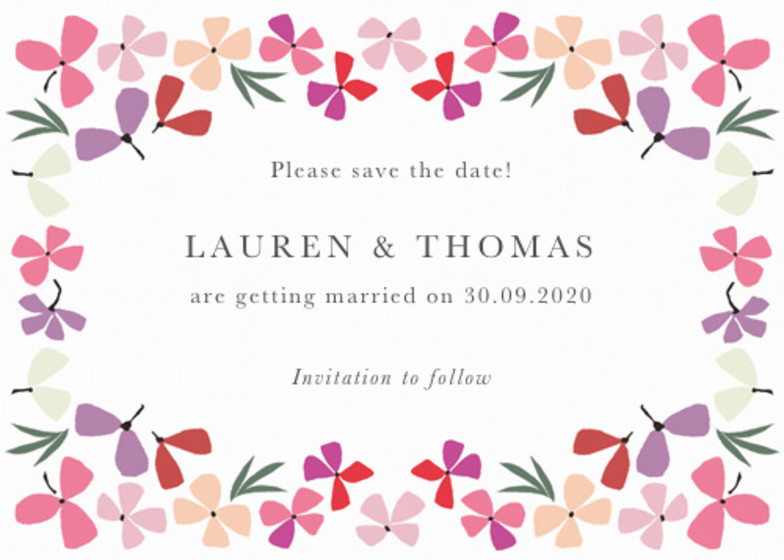 Hortensia Pink | Personalised Save The Date